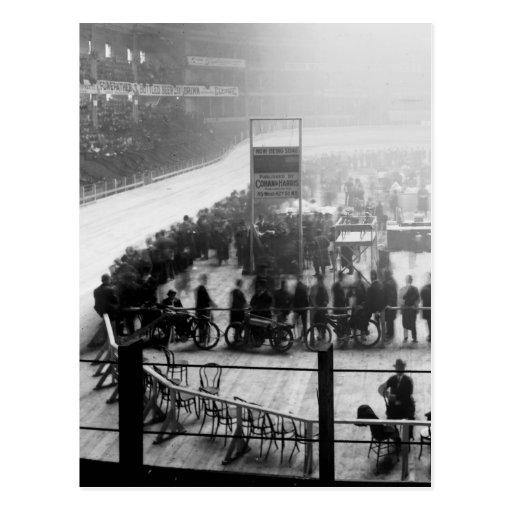 Indoor Motorcycle Race, early 1900s Postcard