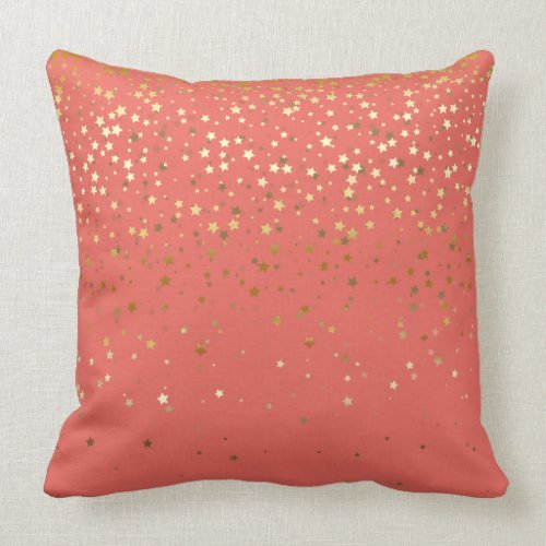 Indoor Petite Golden Stars Square Pillow-Salmon Throw Pillow