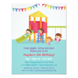 Indoor Playground Kids Birthday Party Invitations