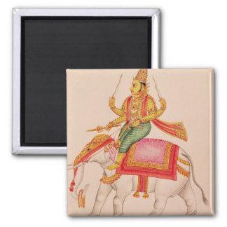 INDRA, dios de tormentas, montando en un elefante Imán Cuadrado