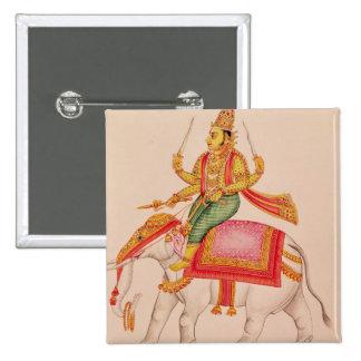 INDRA, dios de tormentas, montando en un elefante Pin Cuadrada 5 Cm