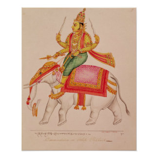 INDRA, dios de tormentas, montando en un elefante Póster