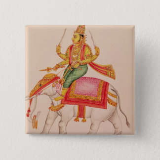 Indra, God of Storms, riding on an elephant Button