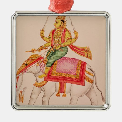 Indra, God of Storms, riding on an elephant Christmas Ornaments