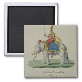 INDRA, grabado por Marlet y Cie (litho del color) Imán Cuadrado