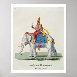 """INDRA o Devendra, del """"francaise de L'Inde…"""", ingl Póster"""