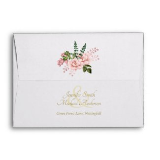 Indulgent Blush Pink Gold Roses Bouquet  Wedding Envelope