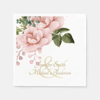 Indulgent Blush Pink Gold Roses Bouquet  Wedding Napkin