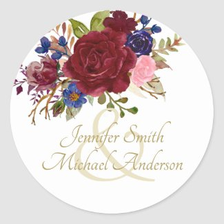 Indulgent Burgundy Royal Blue Pink Roses Wedding Classic Round Sticker