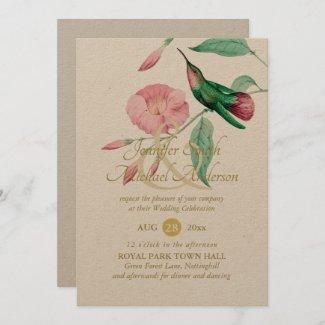 Indulgent Mint Pink Hummingbird Floral Vine Flower