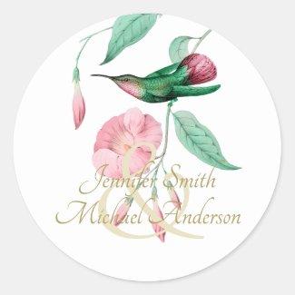 Indulgent Mint Pink Hummingbird Floral Vine Flower Classic Round Sticker