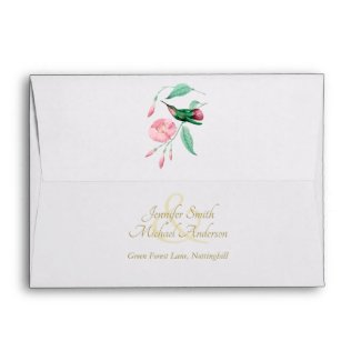 Indulgent Mint Pink Hummingbird Floral Vine Flower Envelope