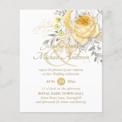Indulgent White Gold Rose Bouquet Wedding Flowers