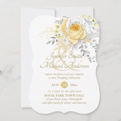 Indulgent White Gold Roses Silver Wedding Fancy