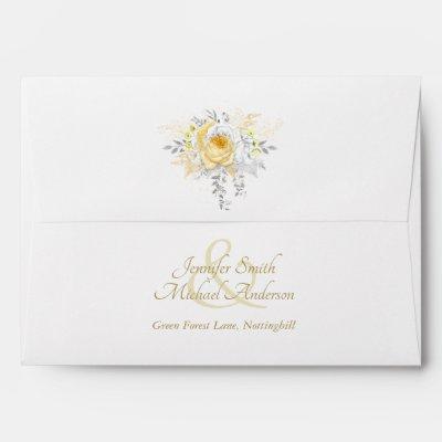 Indulgent White Gold Silver ROSES WEDDING Invite Envelope
