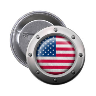 Industrial American Flag with Steel Graphic Buttons