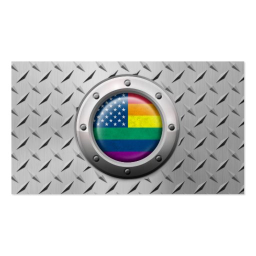 Industrial American Gay Pride Rainbow Graphic Business Card Templates