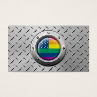 Industrial American Gay Pride Rainbow Graphic Business Card