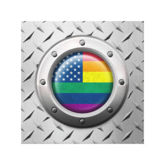 Industrial American Gay Pride Rainbow Graphic Gallery Wrapped Canvas