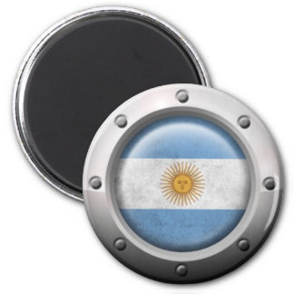 Industrial Argentinian Flag with Steel Graphic Refrigerator Magnet