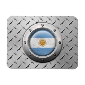Industrial Argentinian Flag with Steel Graphic Rectangular Magnets