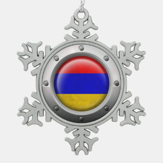 Industrial Armenian Flag with Steel Graphic Snowflake Pewter Christmas Ornament