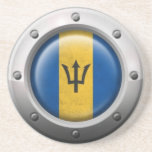 Industrial Barbados Flag with Steel Graphic Coasters