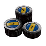 Industrial Barbados Flag with Steel Graphic Poker Chips Set
