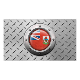 Industrial Bermuda Flag with Steel Graphic Business Card Templates