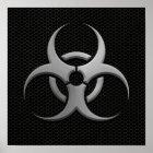 Industrial Bio Hazard Symbol with Steel Effect Poster