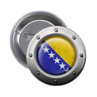 Industrial Bosnia-Herzegovina Flag with Steel Grap Pin