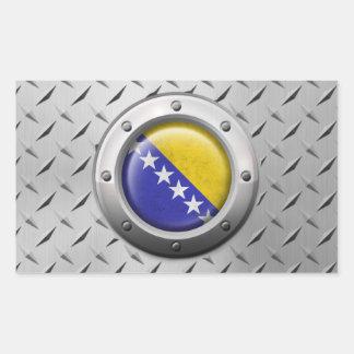 Industrial Bosnia-Herzegovina Flag with Steel Grap Rectangular Sticker