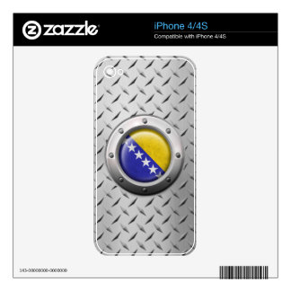 Industrial Bosnia-Herzegovina Flag with Steel Grap Decals For The iPhone 4S