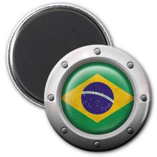 Industrial Brazilian Flag with Steel Graphic Fridge Magnet