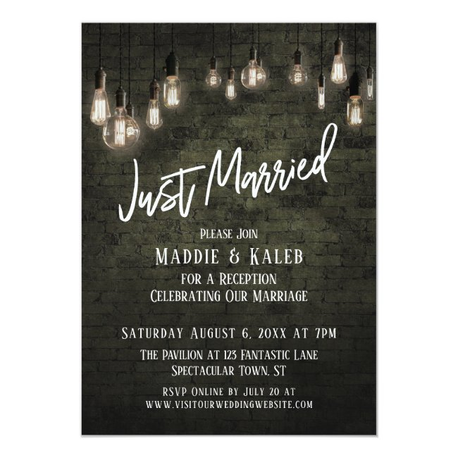 Industrial Brick with Edison Lights Just Married Invitation