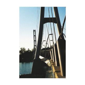 Industrial bridge over the water canvas wall art