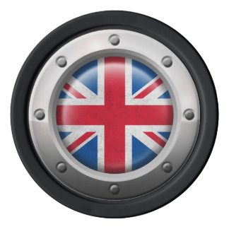 Industrial British Flag with Steel Graphic Poker Chips Set