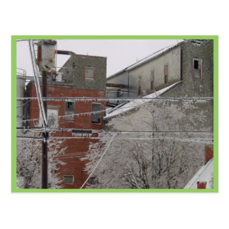 Industrial Building Cover With Snow Postcard