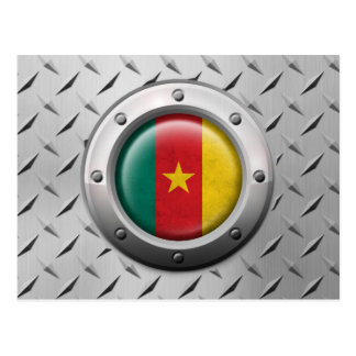 Industrial Cameroon Flag with Steel Graphic Postcard