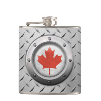 Industrial Canadian Flag with Steel Graphic Flasks