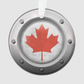 Industrial Canadian Flag with Steel Graphic Ornament