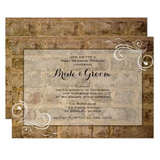 Industrial Chic Bricks Swirls Post Wedding Brunch Card
