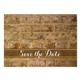 "Industrial Chic Bricks Wedding Save the Date 4.5"" X 6.25"" Invitation Card"