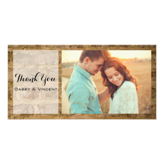 Industrial Chic Bricks Wedding Thank You Photo Card