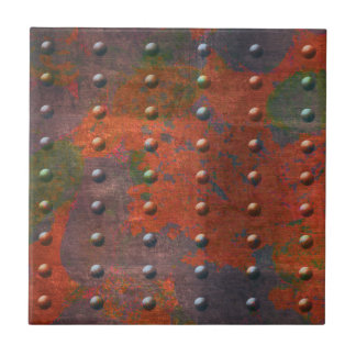 Industrial Chic Distressed 4 Colour Metal Rivets Small Square Tile