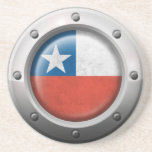 Industrial Chilean Flag with Steel Graphic Beverage Coaster
