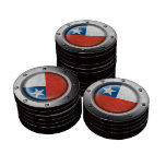 Industrial Chilean Flag with Steel Graphic Poker Chips
