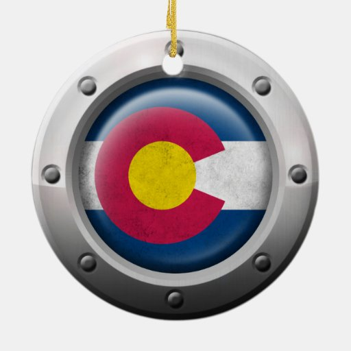 Industrial Colorado Flag with Steel Graphic Ornament