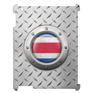 Industrial Costa Rica Flag with Steel Graphic iPad Cover