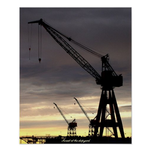 Industrial Crane Silhouette Poster